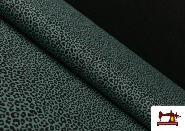 Tissu en Coton avec Imprimé Léopard de Couleurs couleur Vert mer