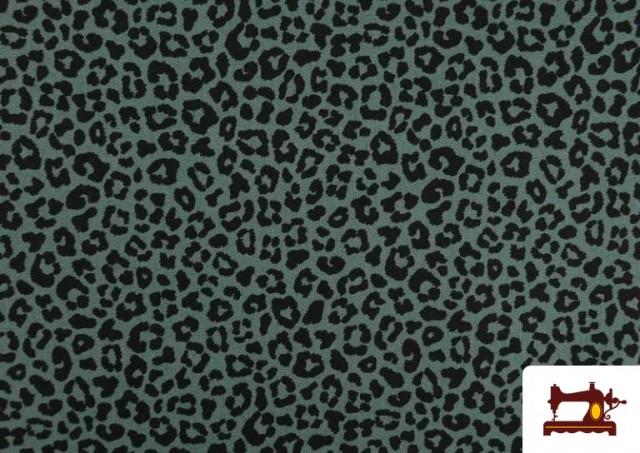 Vente de Tissu en Coton avec Imprimé Léopard de Couleurs couleur Vert mer