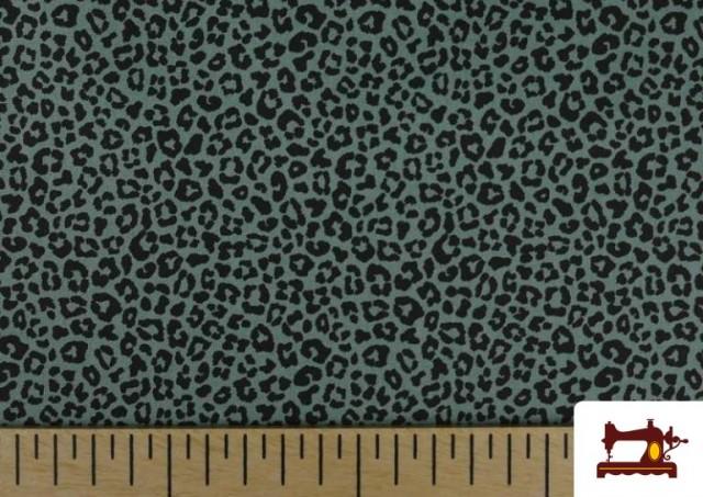Acheter en ligne Tissu en Coton avec Imprimé Léopard de Couleurs couleur Vert mer