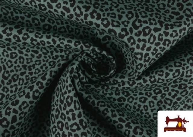 Vente en ligne de Tissu en Coton avec Imprimé Léopard de Couleurs couleur Vert mer