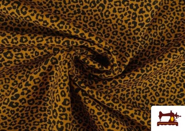 Acheter en ligne Tissu en Coton avec Imprimé Léopard de Couleurs couleur Moutarde