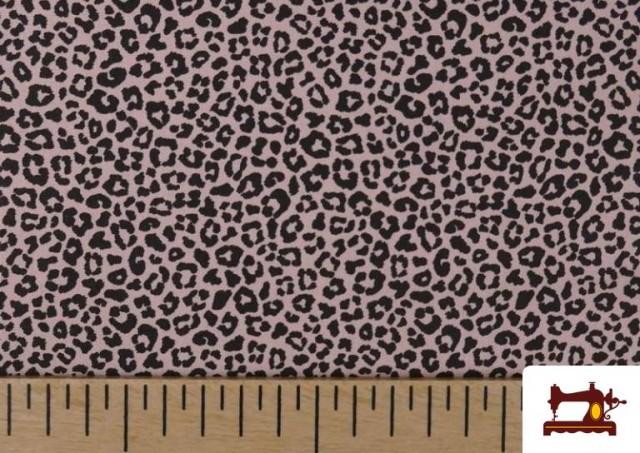 Tissu en Coton avec Imprimé Léopard de Couleurs couleur Rose pâle