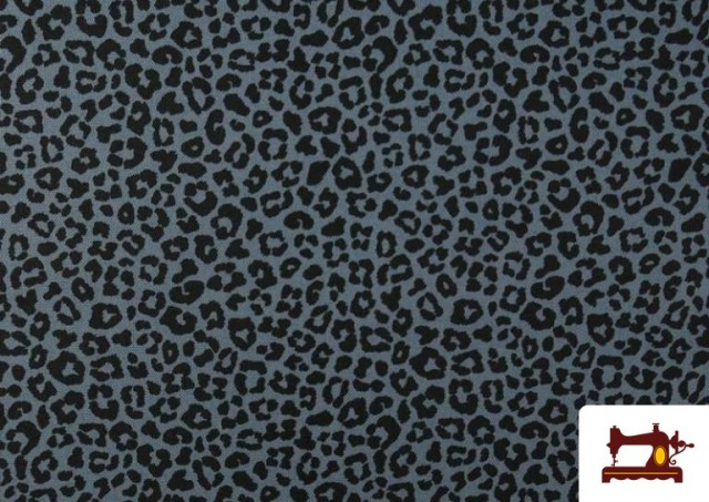 Vente de Tissu en Coton avec Imprimé Léopard de Couleurs couleur Bleu Marine
