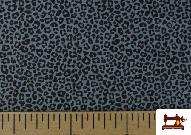 Acheter en ligne Tissu en Coton avec Imprimé Léopard de Couleurs couleur Bleu Marine