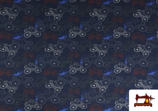 Tissu en Sweat French Terry Imprimé avec Monster Trucks