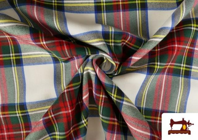 Tissu Viyella Imprimé à Carreaux Blancs