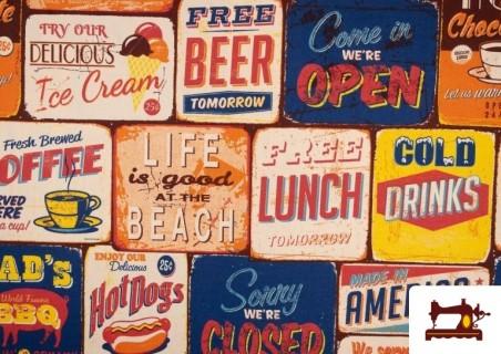 Acheter Tissu en Canvas Imprimé avec Motifs de Panneaux Americains