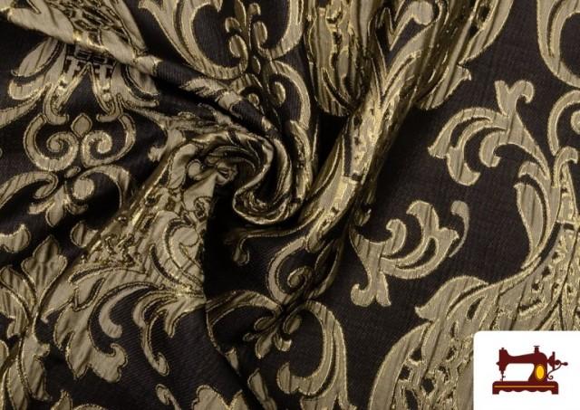 Tissu de Rase Brocart Jacquard Cationique (Deux Faces) couleur Noir