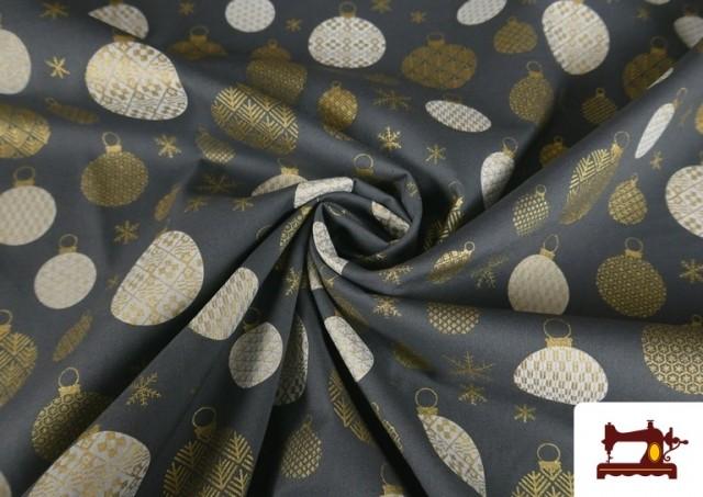 Tissu en Coton Imprimé avec Boules de Noël Gris