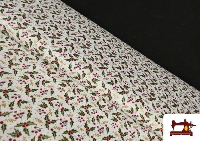 Tissu en Coton Imprimé avec Houx de Noël