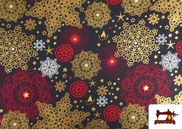 Tissu en Coton Imprimé avec Flocons de Neige Mandala de Noël