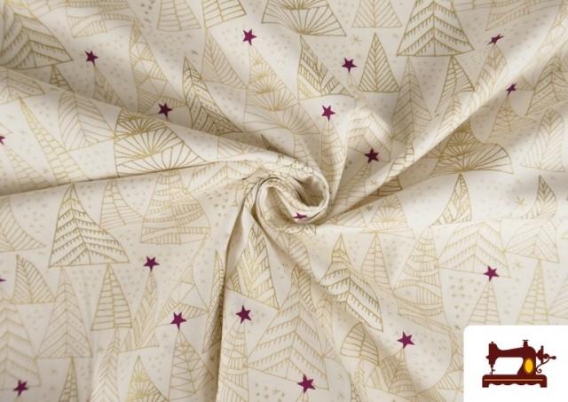 Tissu en Coton avec Sapins de Noël Dorés