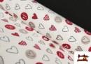 Tissu en Coraline Polaire Douce avec Coeurs