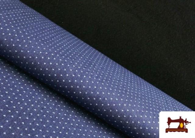 Tissu Texan avec Imprimé Géométrique Triangles couleur Bleu