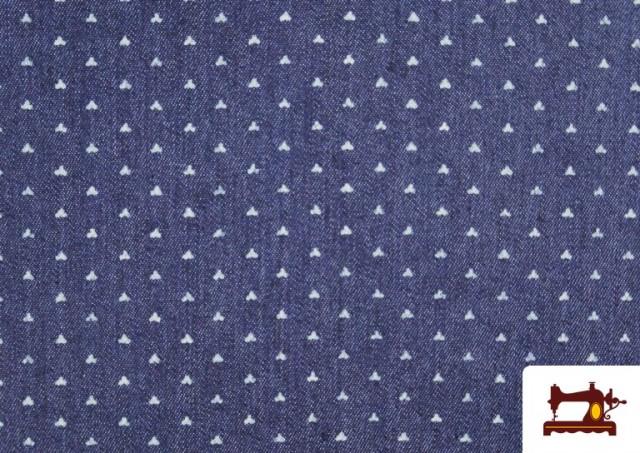 Acheter Tissu Texan avec Imprimé Géométrique Triangles couleur Bleu