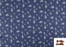 Tissu en Texan Imprimé avec Feuilles couleur Bleu
