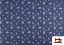 Acheter Tissu en Texan Imprimé avec Feuilles couleur Bleu