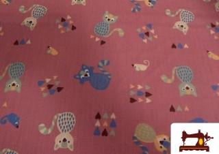 Tissu Fat Quater Rose Vintage de Chat pour Patchwork
