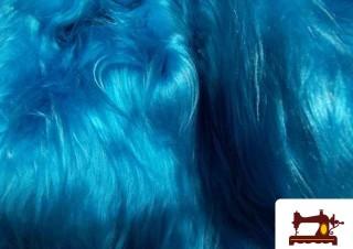 Tissu à Poil Long Bleu Turquoise