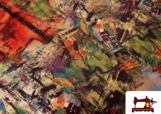 Tissu en Soie Imprimé Inspiration Peinture à l'Huile