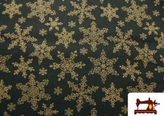 Tissu de Noël Vert et Doré avec Étoiles