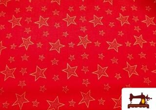 Tissu en Coton Fat Quarter Rouge Imprimé Étoiles