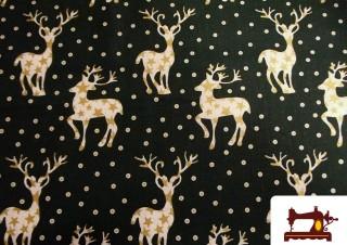 Tissu de Noël Imprimé avec Rennes