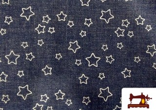 Tissu en Jeans avec Imprimé Étoiles