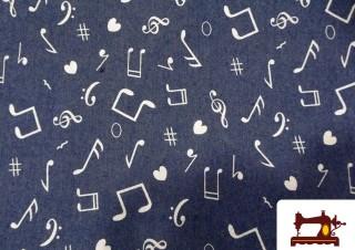 Tissu en Jeans avec Imprimé Notes de Musique
