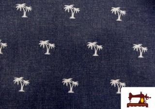 Tissu en Jeans Délavé avec Imprimé Palmiers