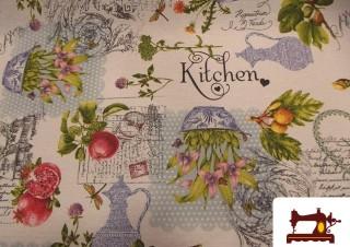 Tissu Anti-Tâches en Téflon et Imprimé avec Motifs de la Cuisine