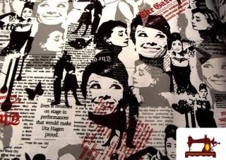 Tissu de Canvas avec Imprimé Audrey Hepburn