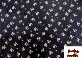 Tissu en Jeans Imprimé avec Empreinte Chien ou Ours