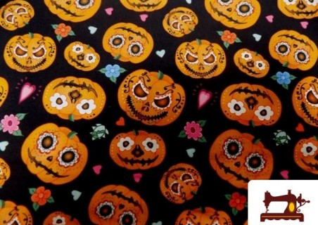 Tissu Imprimé avec Citrouilles de Halloween