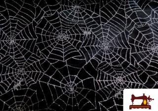 Tissu Toile d'Araignée Halloween couleur Argenté