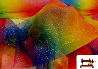 Tissu en Tulle Imprimé Multicolore avec Paillettes/Strass/Brillants