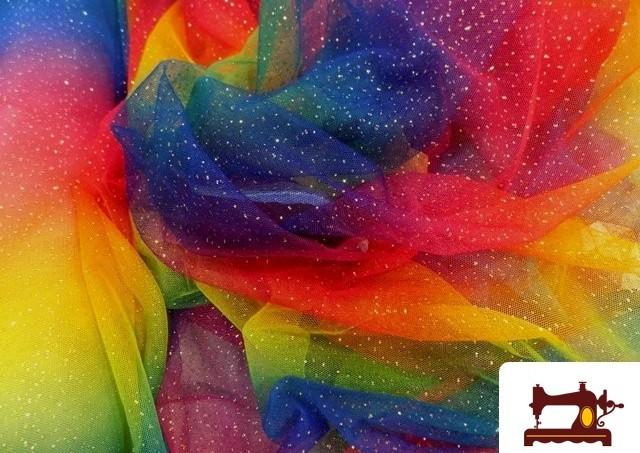 Acheter Tissu en Tulle Imprimé Multicolore avec Paillettes/Strass/Brillants