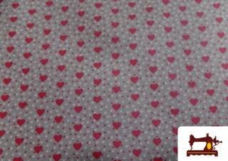 Tissu en Coton Imprimé Coeurs Rouges Imperméable