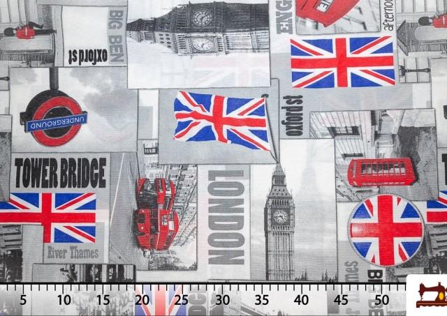 Acheter Tissu de Canvas Iconographie Britannique - Londres