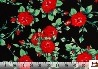 Tissu avec Imprimé Floral Oeillets et Roses Flamenco