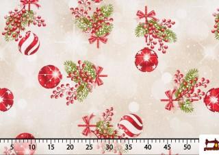 Tissu Imprimé Boules de Noël