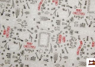 Tissu de Noël pour Linge de Table à Paillettes