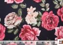 Tissu en Coton avec Imprimé Floral, Roses, Oeillets