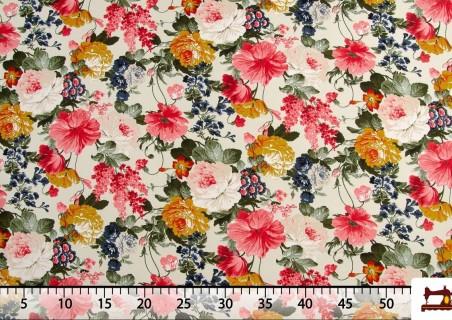 Tissu avec Imprimé Floral Multicolore