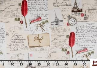 Tissu Canvas avec Cartes Postales de Paris