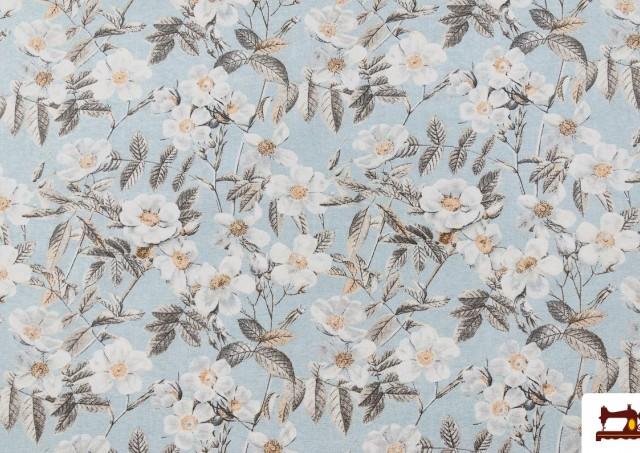 Tissu avec Imprimé Floral pour Décoration couleur Bleu