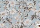 Vente de Tissu avec Imprimé Floral pour Décoration couleur Bleu