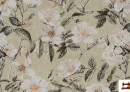 Tissu avec Imprimé Floral pour Décoration couleur Vert