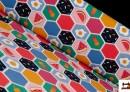 Tissu de T-shirt avec Imprimé Multicolore de Fruits et Oeufs au Plat
