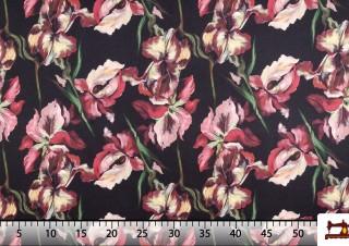 Tissu pour Flamenco avec Fleurs Multicolores